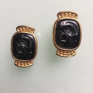 GIVENCHY 80's VINTAGE BLACK CENTURION EARRINGS